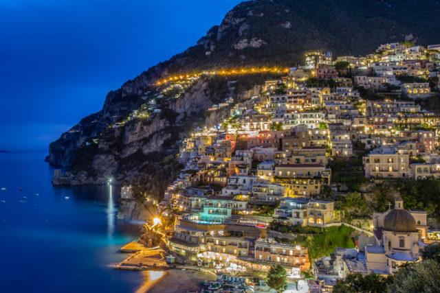 night shot of positano